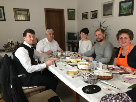 Csongor and I joined his godfather, László Nagy, the minister of the Bolyai congregation, his wife Gizella, and their daughter and her husband for Easter lunch.