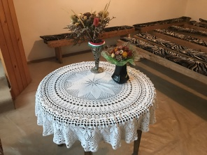 "Unitarian churches in Transylvania feature a ""Lord's Table"" rather than an altar. Here, the cloth is a custom piece of lace."