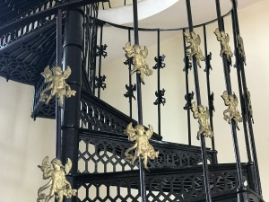 I enjoyed this whimsical staircase to the bell tower in the Hungarian Catholic church.